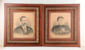 Lot Of 2: Framed Drawings Of Lady & Gentleman.