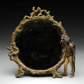 Bronze Mirror with Figural Indian.