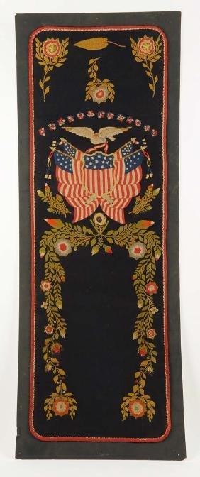 Early 1880's Textile Eagle Flag.