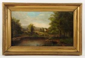 Oil Painting of Pastoral Scene.