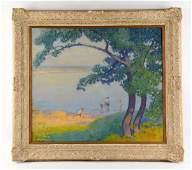 Oil on Canvas Lake Scene.