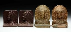 Lot of 2: Indian Chief Bookends.