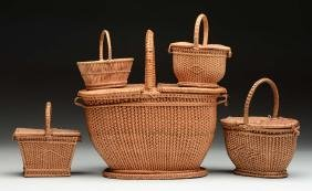 Lot Of 5: Woven Baskets.