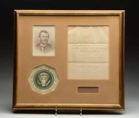 Ulysses Grant Framed Papers.