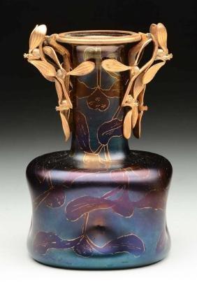 Loetz Vase with Bronze Mount.