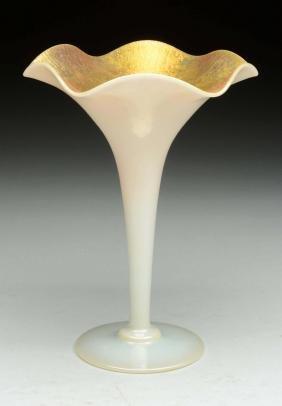 Steuben Gold Aurene & Calcite Fluted Trumpet Vase.