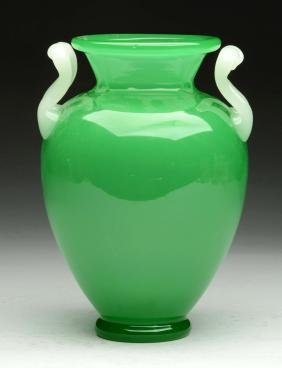 Steuben Green Jade Vase W/ Alabaster Handles.