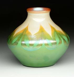 Tiffany Pulled Feather Vase.
