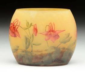 Daum Nancy Cameo Glass Pillow Vase.