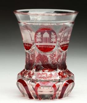 Bohemian Ruby Cut Glass Goblet.