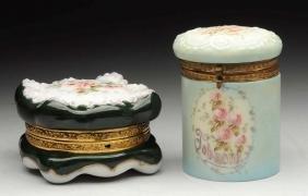 Lot Of 2: Wavecrest Tobacco Jar Humidor & Green Box.