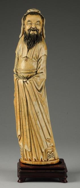 Large Carved Oriental Figure.