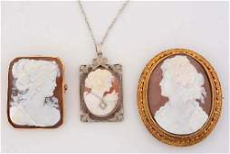 Lot Of 3: Two Cameo 14K Gold Brooches and A 14K Gold