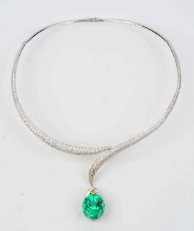2 Piece 18K White Gold Emerald w/ Diamond Pendant &
