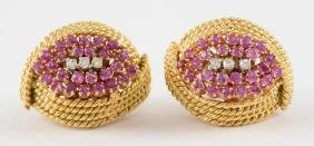 Pair of 18K Yellow Gold Earrings with Diamonds &