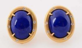 Pair of 18K Yellow Gold Lapis Lazuli & Diamond