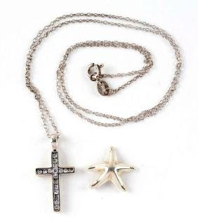 Lot of 2: Sterling Cross Necklace & Starfish.