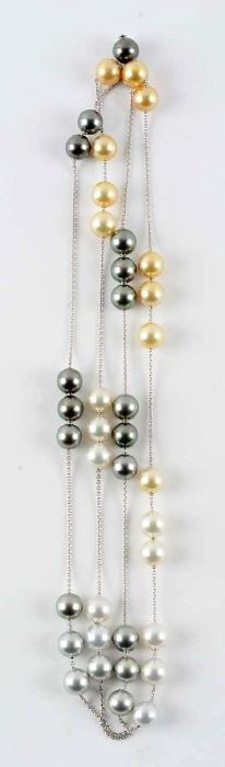 18K White Gold Pearl & Diamond Necklace.