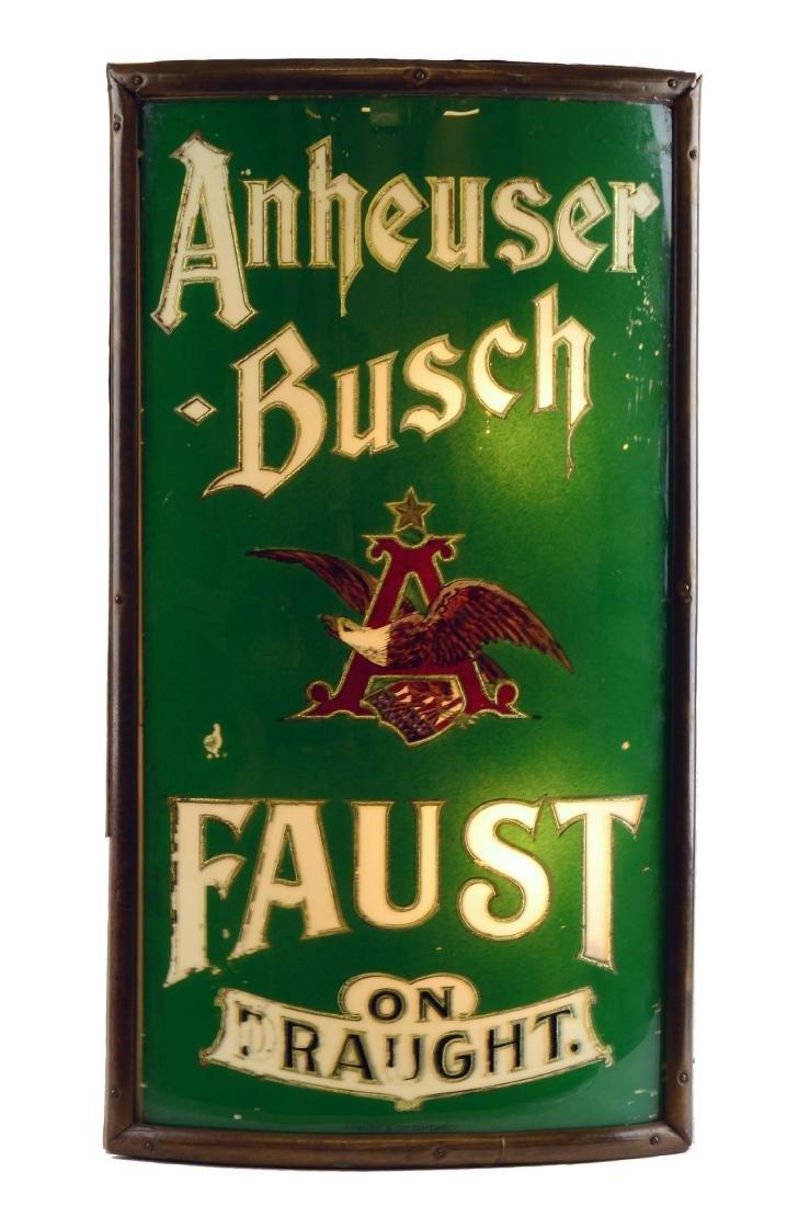 Reverse Glass Anheuser Busch Faust Light Up Sign.