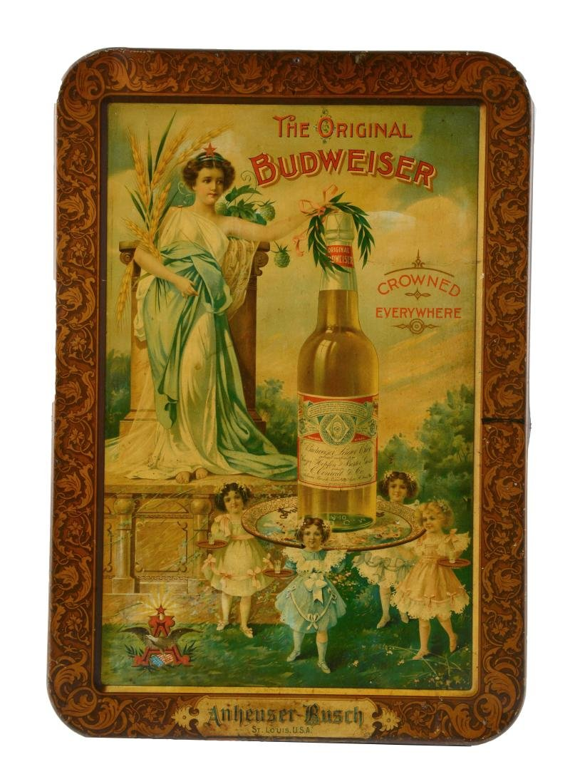 The Original Budweiser Tin Litho Advertising Sign.