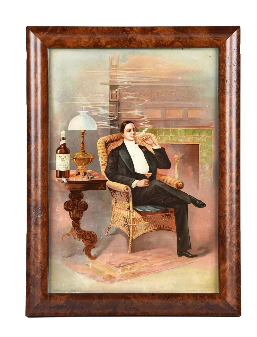 1894 The Club Manhattan Tin Litho Sign.