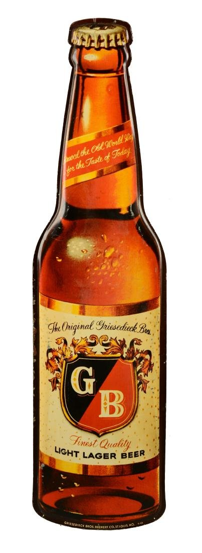 Griesedieck Beer Diecut Embossed Tin Bottle Sign.