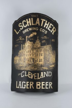 Early Tin L. Schlather Brewing Co. Corner Sign.