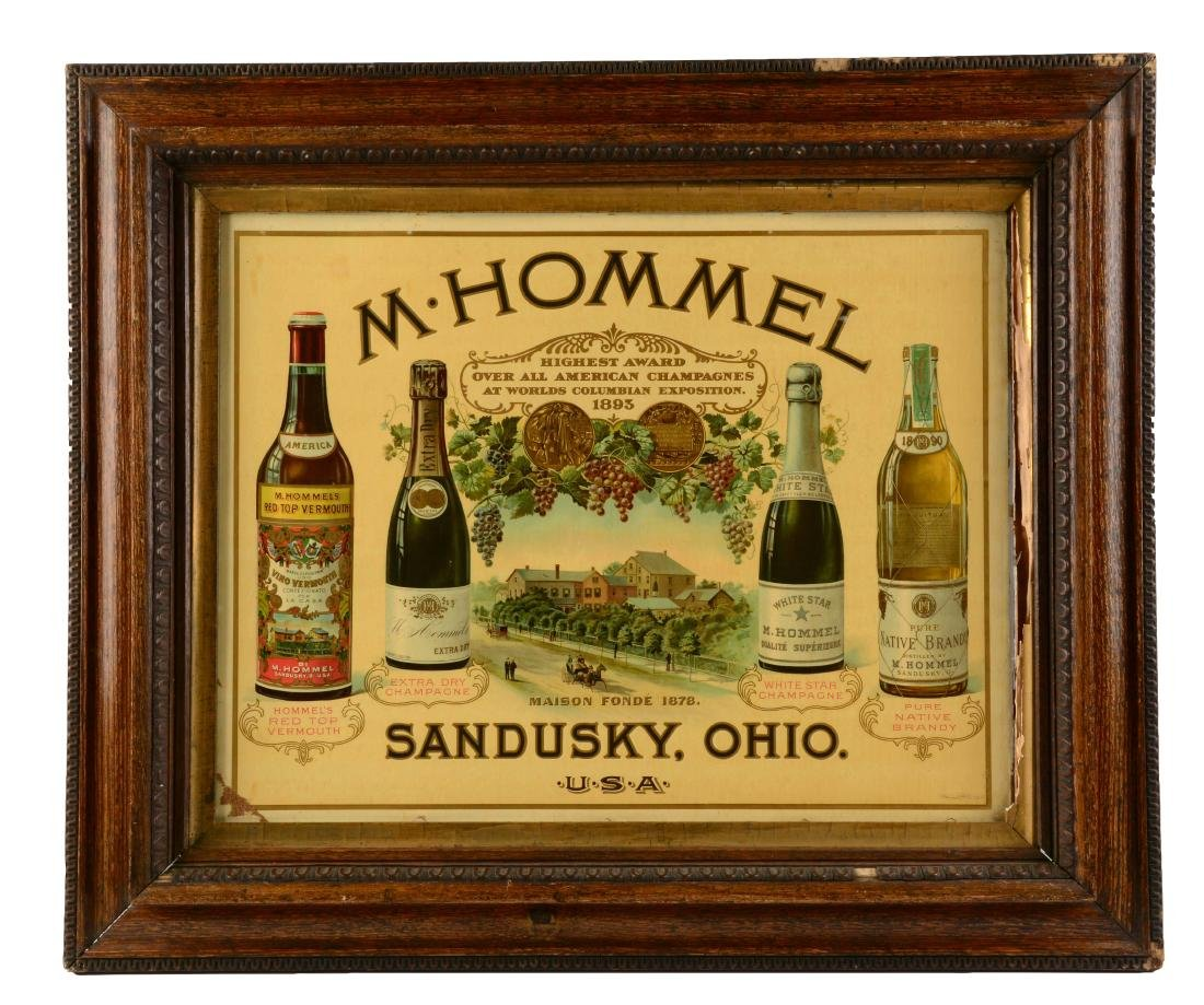 M. Hommel Champagnes Lithographed Advertising Sign.