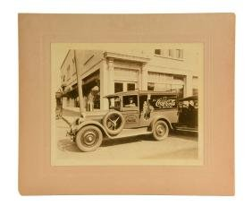 Early Coca - Cola Delivery Truck Cabinet Card Photo.