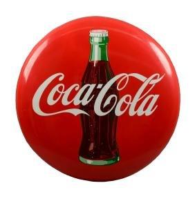 Large Coca-Cola Porcelain Button Sign.