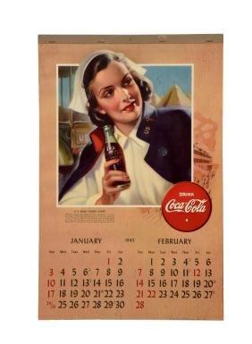 1943 Coca - Cola Advertising Calendar.