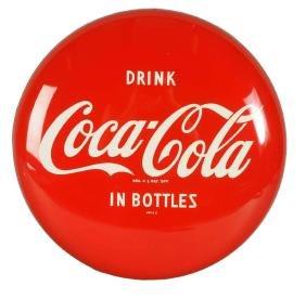 1950's Coca-Cola Tin Button Sign.