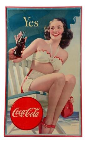 1947 Coca - Cola Swimsuit Cardboard Sign.