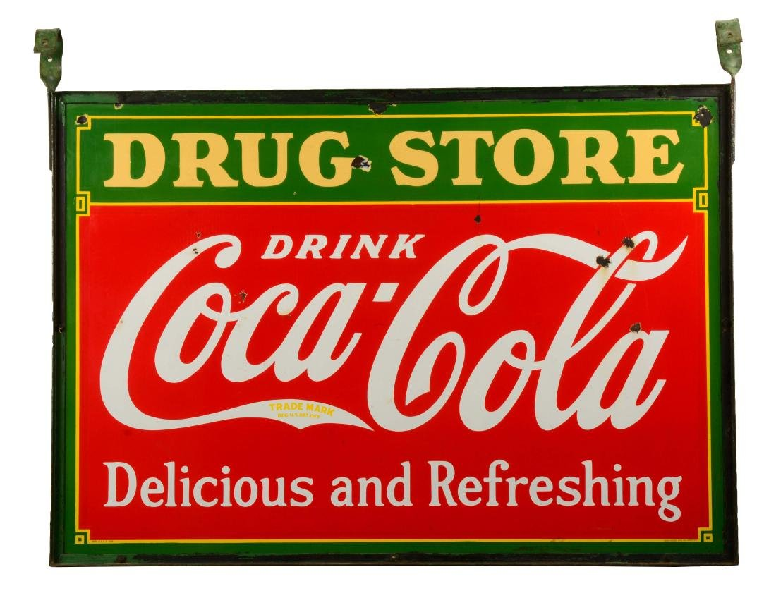 Coca-Cola Double Sided Porcelain Drug Store Sign.