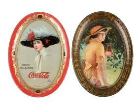 1910 & 1916 Coca - Cola Tin Tip Trays.