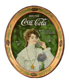 1906 Coca - Cola Juanita Tin Serving Tray.