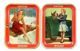 1941 & 1942 Coca - Cola Tin Trays.