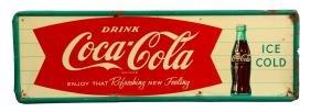 Coca-Cola Fishtail Tin Sign.