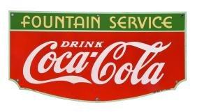 Porcelain Fountain Service Coca - Cola Sign.