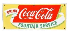 Porcelain Drink Coca - Cola Fountain Service Sign.