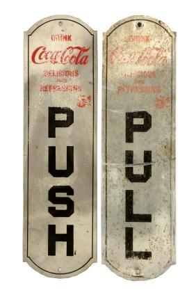 Lot Of 2: Coca - Cola Door Pushes.