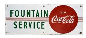 Coca - Cola Porcelain Fountain Service Sign.