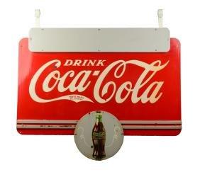 1930's Coca-Cola Hanging Porcelain Sign.