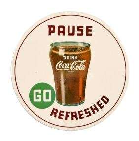 Coca - Cola Go Refreshed Celluloid Button Sign.