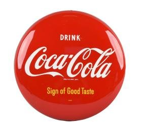 1950's Drink Coca - Cola Button Sign.