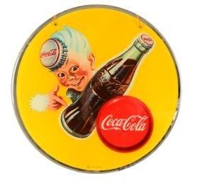 1940's Coca - Cola Sprite Boy Reverse On Glass sign.