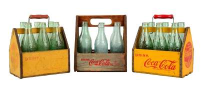 Lot Of 3: Wooden Coca - Cola 6-Pack Bottle Carriers