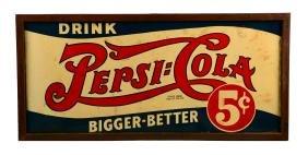 Large Pepsi-Cola Embossed Tin Sign.