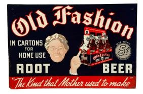 Old Fashion Root Beer Tin Sign.