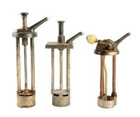 Lot of 3: Early Syrup Dispenser Pumps.